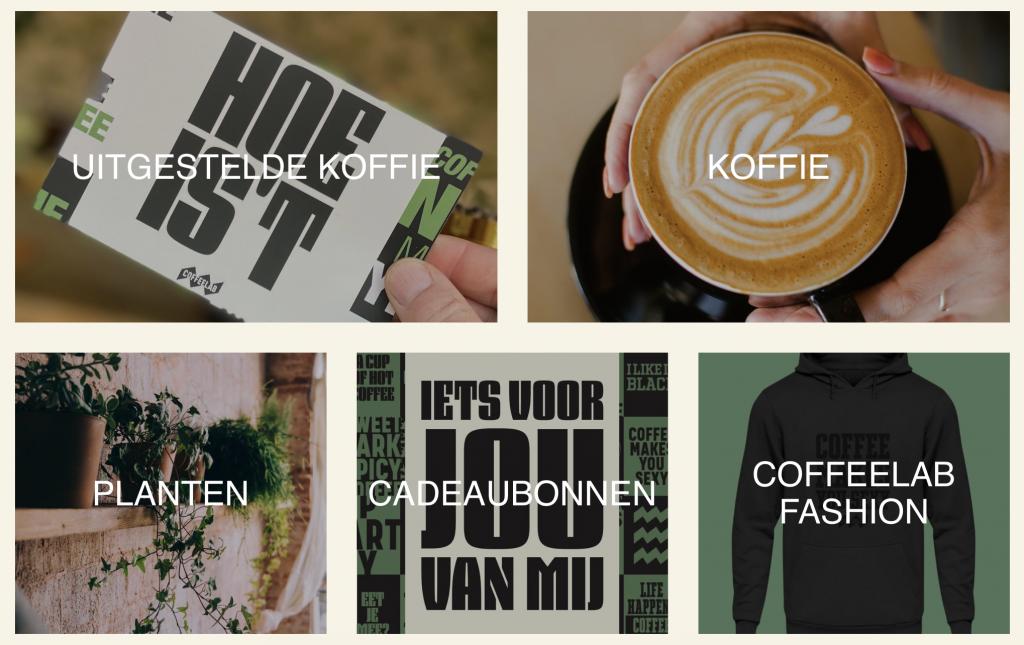 Overzicht van producten uit de COFFEELAB webshop